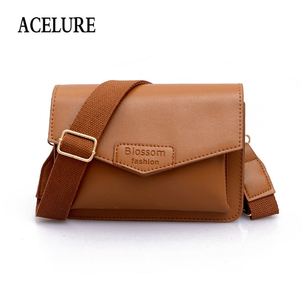 2a7ea2d548d7 ACELURE Solid Color Hard Pu Leather Crossbody Bags For Women Simple Style  Ladies Wide Strap Flap Female All-Match Shoulder Bag