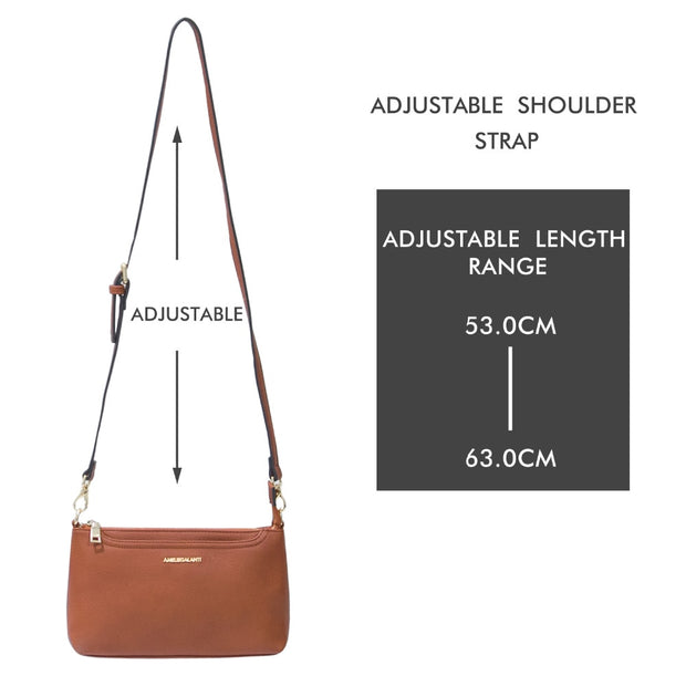 AMELIE GALANTI Luxury Leather Womens Bags Mini Crossbody Bags For Woman Handbag Cellphone Soft Solid Lady Bag Zipper Pockets