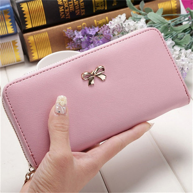 Adisputent Ladies Cute Bowknot Women Long Wallet Pure Color Clutch Bag 2018 New Purse Phone Card Holder Bag Wallet
