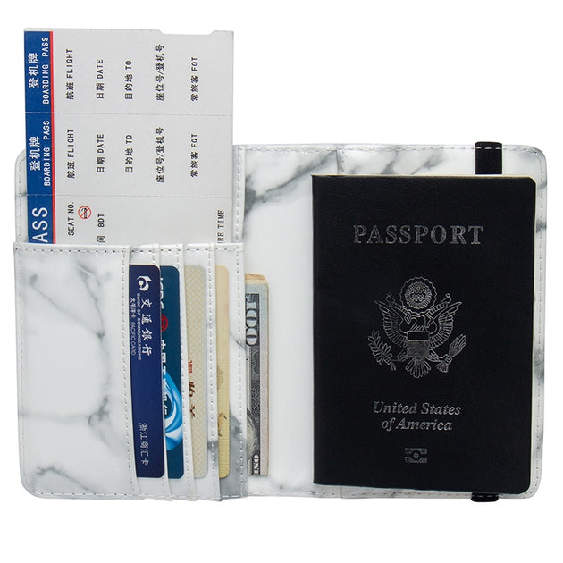 5475db9abdd7 Advanced White Marble Pattern PU Leather Travel Passport Holder With  Bandage Passport Cover Credit Card ID Bag With Traveling