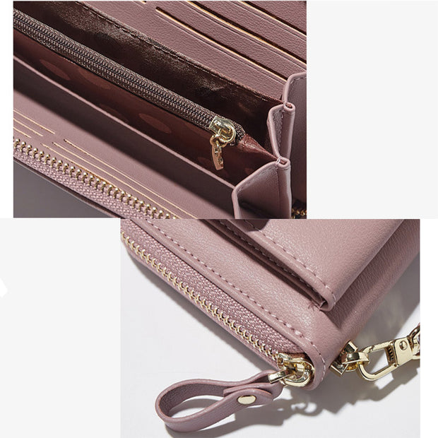 Anreisha Fashion Long Woman Purse New Designer Female Wallet Clutch PU Leather Ladies Purses Card Holder Women Phone Bags P2