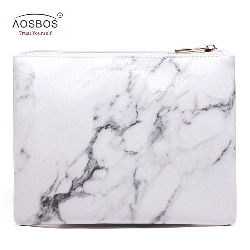 96d6b8ac5d42 Aosbos Women Fashion Marble Cosmetic Bags Ladies Portable Zipper Storage  Bags Pouch White PU Leather Makeup Bag Neceser Mujer