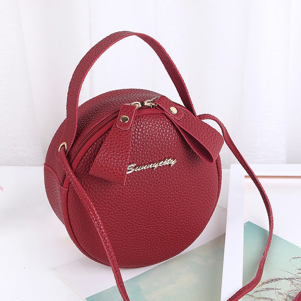 BERAGHINI 2019 New Fashion Women Bag Simple Design Messenger Bag For Female Mini Circular Handbag PU Leather Lady Crossbody Bag