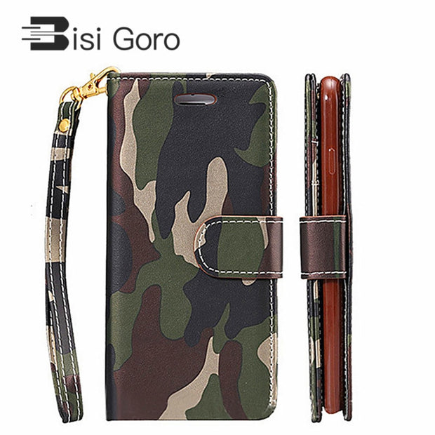 BISI GORO Leather Wallet Case For Samsung S7 Phone Case For Samsung S5 S6 S6edge S7 Women Men Credit Card Holder Wallet Over