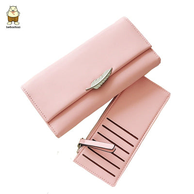 Beibaobao Fashion Women Long Wallet Leaf Quality Short Purse 2019 New Multi-card Clutch Bag Short Wallet Coin Bags Money Clip