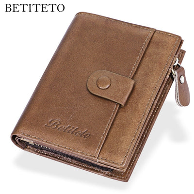 Betiteto Brand Genuine Leather Wallet Male Coin Purse Men Carteras Kashelek Handy Walet Portomonee Cuzdan Partmone Money Bag