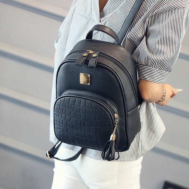 Brand PU Leather Mini Backpacks For Girls Korean Small Women Backpack Female Back Pack Black Grey Pink Blue 2018