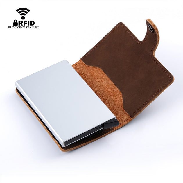 f035e9f0de2f Bycobecy 2019 Unisex Metal Card Holder RFID Aluminium Credit Card Holder  With RFID Blocking Pu Leather Mini Magic Wallet 4 Color