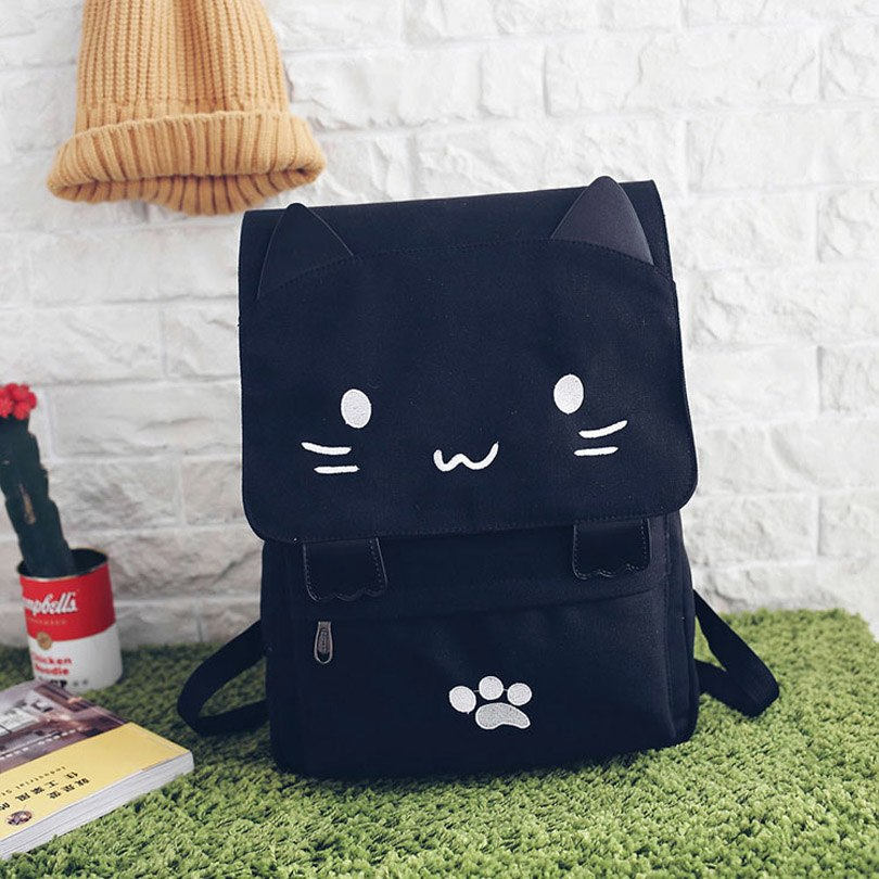 5645f846ada4 Canvas Women Backpack Embroidery Cartoon Cute Cat Backpacks For Teenage  Girls School Bag Casual Black Printing Rucksack Mochilas