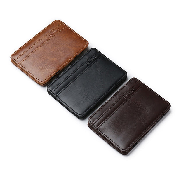Card Holder Vintage Style High Quality PU Leather Magic Wallets Mini Card Holder Magic Wallet Slim Cardholder Card Case Carteira