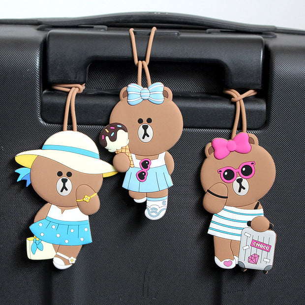 Cartoon Bear Luggage Tag Card Set Travel Card Luggage Accessories Tag Pure Silica ID Address Holder Boarding Pass Portable Label