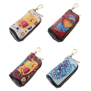 Cartoon Elephant Printing Leather Car Key Chain Ring Keychain Case Holder Zipped Bag Purse Pouch