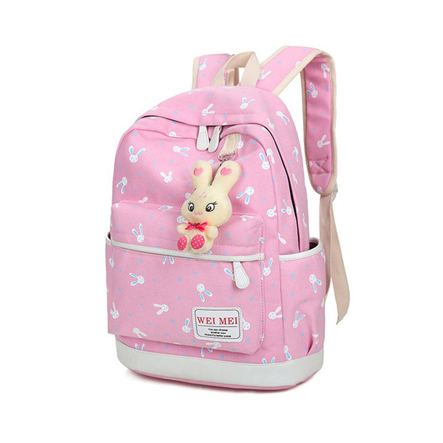 Cartoon Rabbit Printing Women Canvas 4Pcs/set School Backpacks College Schoolbag School Bags For Teenager Girl And Boys S1620
