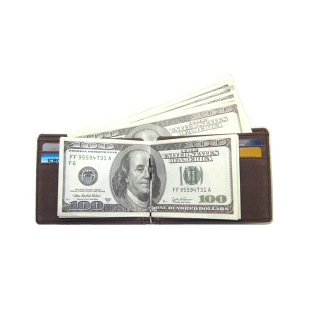 Casual Men Wallet Leather Wallet Solid Color Wallets Purses For Dad Metal Clip Moneybags Male Wallets Gift