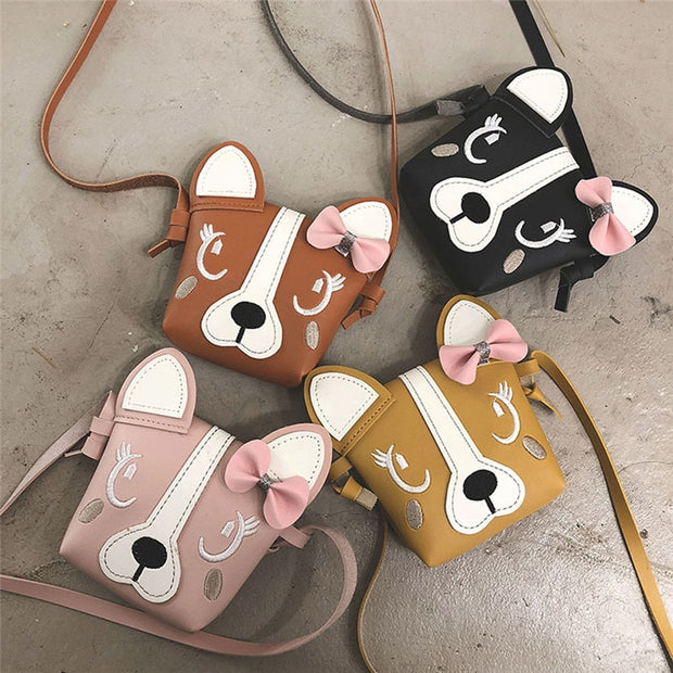 Children Cute Fashion Patchwork Deer Cover Cross-body Shoulder Phone Coin Bag PU Purses Luxury Handbags Casual Cross-body Bag#A