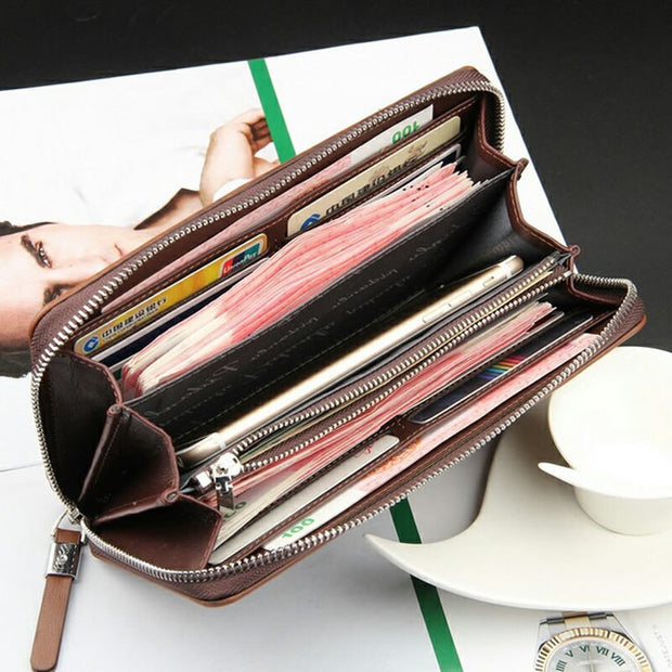 Credit Card Checkbook Billfold Men Long Wallet Pockets Money Purse