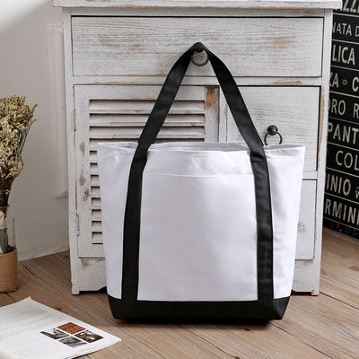 Custom Black And White Mixed Fabric Canvas Promotional Shopping Tote Bag