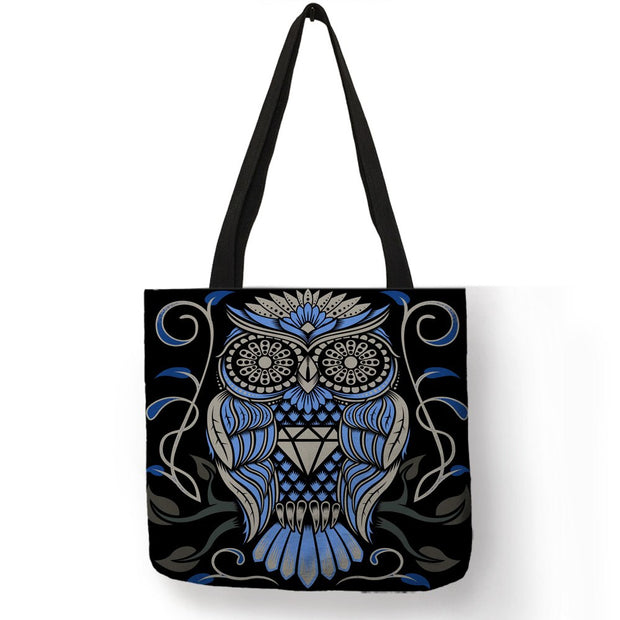 Customize Owl Tattoo Double Side Printed Tote Bag Women Men Creative ...