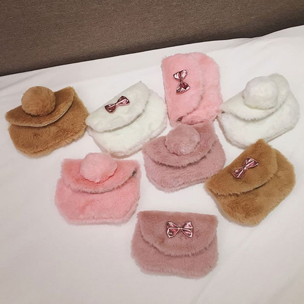 Cute Cartoon Faux Fur Small Coin Purses Shoulder Crossbody Bag For Children Kids Girls