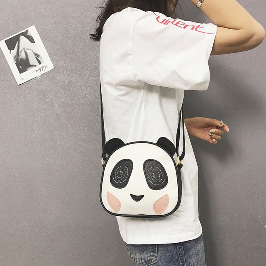 Womens Round Crossbody Bag Cute Panda Crossbody Wallet PU Leather Zipper Shoulder Bag
