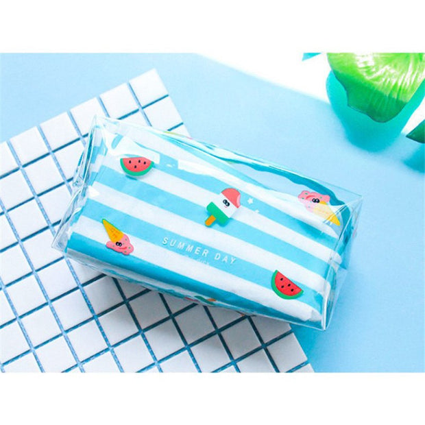 Cute Sweet Transparent Make Up Bag Clear Zipper Portable Organizer Beauty Case Toiletry Bag Bath Travel Cosmetic Bags