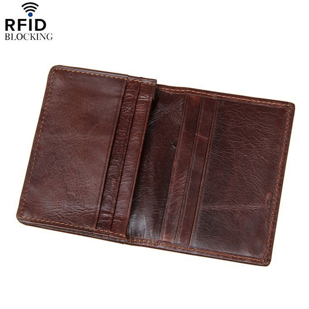 ad6a74c86f2d DOLOVE Business Men Credit Card Holder 100% Cowhide Leather Wallet Men's  Coffee Bifold Card ID