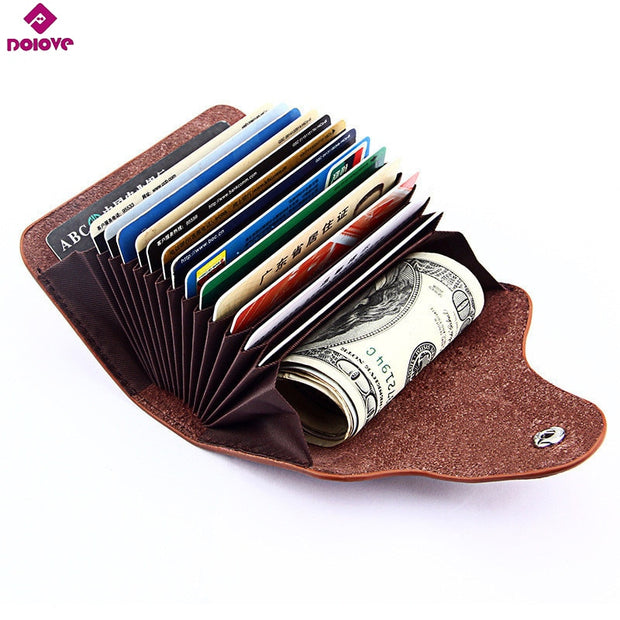 online store 025b8 08a9d DOLOVE Genuine Cow Leather Women Card Holder Business 15 Card Slot Ladies  Card Wallet 6 Solid Color Card Case Unisex Zero Wallet