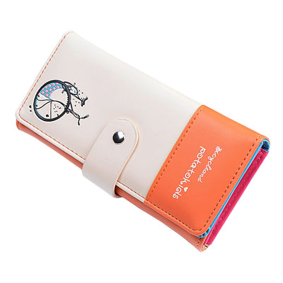 Fashion Design PU Leather Purse Lady Women Wallet Clutch Long Bicycle Pattern Zip Card Holder Top Quality AB@W Women Bag
