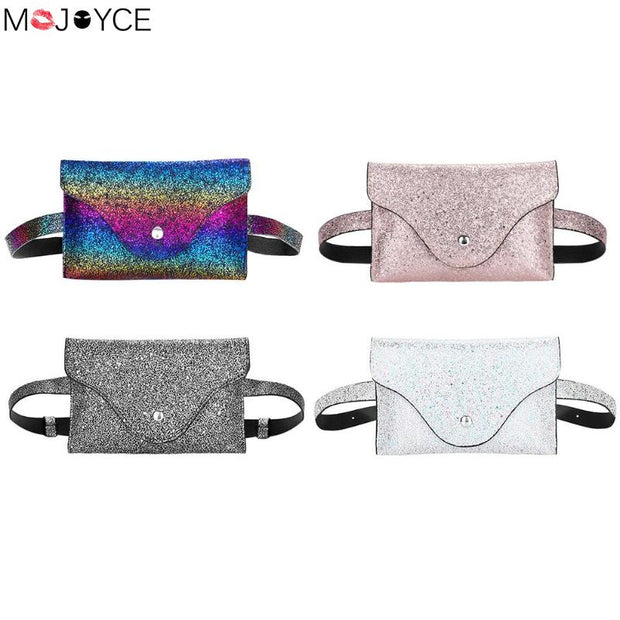 Fashion Fanny Packs For Women Glitter Belt Bags Sequins Waist Bag PU Leather Waist Packs Girl Chest Bag Pochete