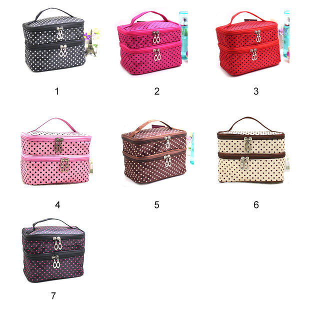 Fashion Lady's Dot Pattern Makeup Case Double Layer Cosmetic Hand Bag Tool Storage Toiletry(Black)