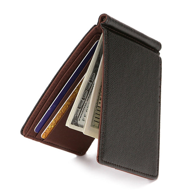Fashion Leather Wallet Metal Money Clip Casual Bifold Men Short Wallet Soild Color Purses For Dad Gift Male Card Pocket Bags