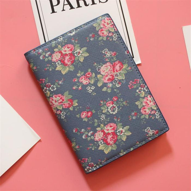 d3ac38995 Fashion Men Women Travel Leather Passport Holder Card Case Protector Cover  Floral Wallet Bags Flower Passport Cover For Girls