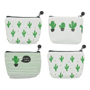 Fashion Pack Of 4 Canvas Coin Purse Change Cash Bag Zipper Small Purse Wallets, Cactus