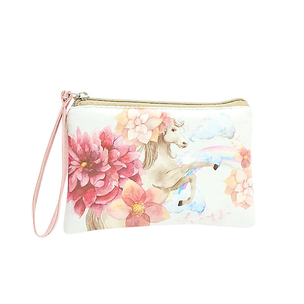 Fashion Women Girls Print Flower Coin Purse Canvas Cash Coin Purse Make Up Handbags Cellphone Bag With Handle Wallet Bag