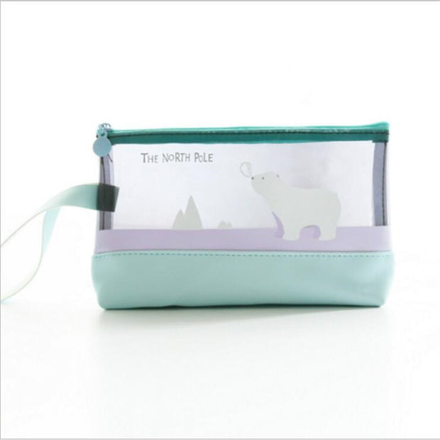 Fashion Women Travel Cosmetic Bag PVC With PU Leather Transparent Makeup Bag Animal For Travel Carrying Organizer Holder Makeup