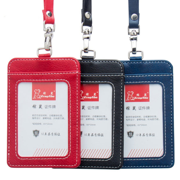 Fashion Women Lanyards Id Badge Holder Men Business Card Holder Case Working Id Badge Covers Bus Card Holder For Vertical Pouch