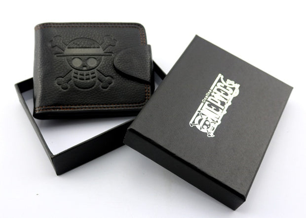 New Anime Wallet One Piece Monkey•D•Luffy Pirate Skull Logo Black Leather Purse