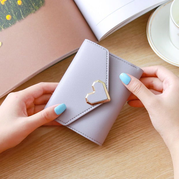Heart Leather Small Wallet Women Luxury Brand Famous Mini Women Wallets Purses Female Short Coin Purse Credit Card Holder 450