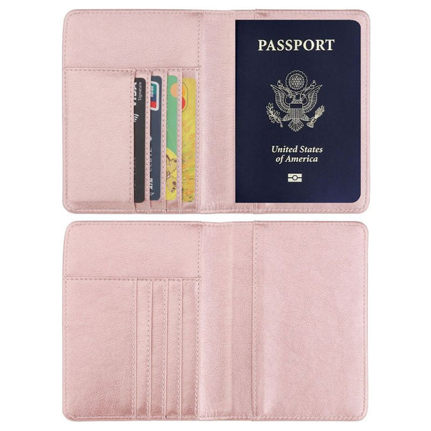 High Quality PU Leather Travel RFID Blocking Leather Passport Holder Wallet Card Case Organizer Cover Protector