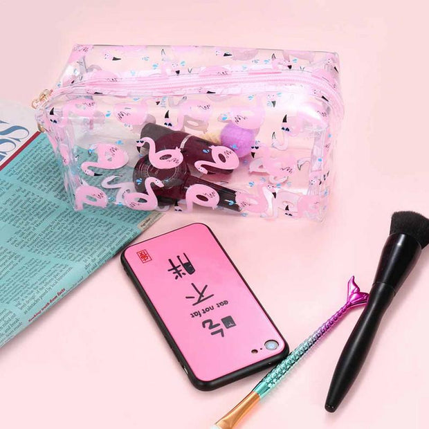 High Quality PVC Transparent Flamingo Pink Cosmetic Bags Cartoon Portable Traval Makeup Cosmetic Zipper Washing Bag Pouch Case