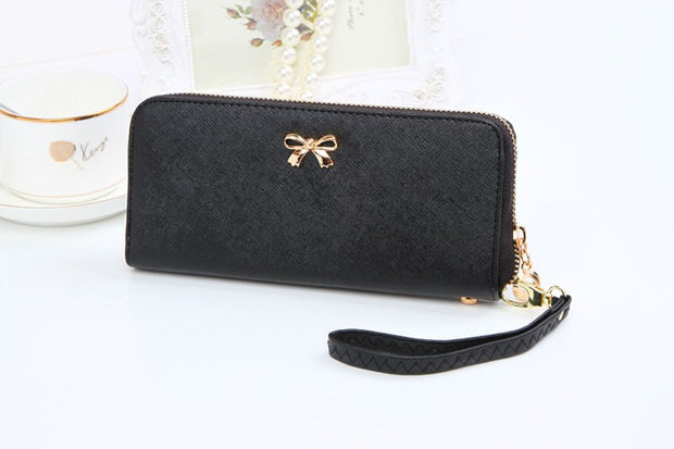 Hot Sale! 2017 New Women Korean Cute Leather Bowknot Purse Solid Wearable Wallet Lady Women Purse Carteira Masculina