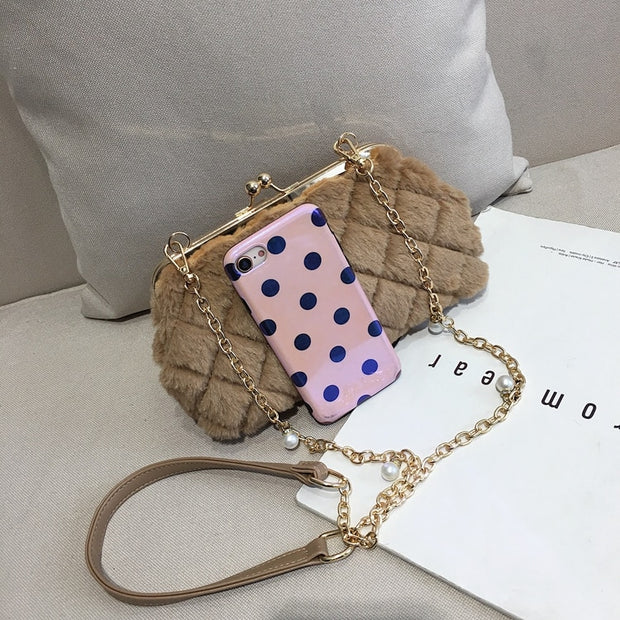 ICEV Small Fashion Shoulder Bag Quilted Chain Crossbody Bags Korean Style Plush Wild Messenger Bag Clip Shell Bags Bolsos Mujer