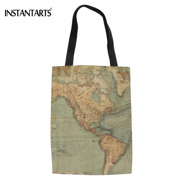 INSTANTARTS Fashion World Map Printed Women Cotton Tote Bags nd Design on map shirt, map shoes, map blouse, map wallet, map ipad case, map keychain, map phone case, map bathing suit, map suitcase, map jacket, map luggage,
