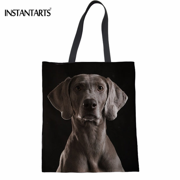 INSTANTARTS Funny 3D Dog Weimaraner Print Women Shopping Linen Tote Bags  Fashion Female Supermarket Bags Multi-function Eco Bag