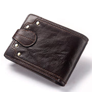 KAVIS 100% Genuine Leather Wallet Men Male Coin Purse Mini Portomonee Clamp For Money Bag For Zipper Pocket Card Holder Hasp