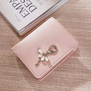 Korean Style Simple Fashion Women Short Purse PU Leather Solid Color Clutch Bag Dancing Girl Wallet Lady Coin Purses Popular