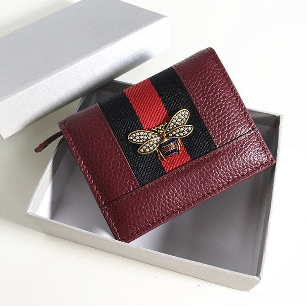 Leather Short Paragraph Bee Pearl Small Wallet Female Europe And The United States New Leather Color Thin Multi-card Bit Wallet