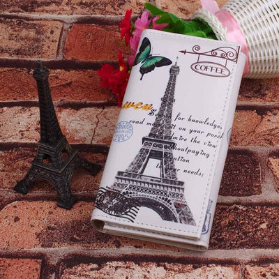 Long Design Purse Clutch Wallet Printing Bag Card Butterfly Iron Tower Designer Clutches Phone Coins Card Holder Money Bag