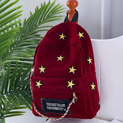 Luxury Velvet Backpack Women School Backpack For Girls Embroidery Stars Rucksack Vintage Shoulder Bags Laptop Backpacks Mochila