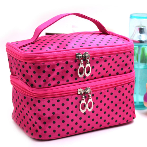 Makeups Storage Bag, Portable Polyester Double Layer Dot Pattern Travel Makeup Cosmetic Bag(rose Red)